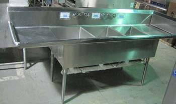 AMTEKCO STAINLESS STEEL 3 COMPARTMENT SINK WITH Lu0026R DRAINS